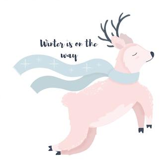 Jeleń jest ubranym szalik zimy ilustrację