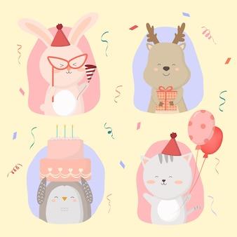 Jeleń, kot, pingwin, królik, wspólne przygotowanie przyjęcia urodzinowego. udekorowali salę balonami. i przygotuj papierową strzelankę do świętowania ilustracja kreskówka w płaskim stylu