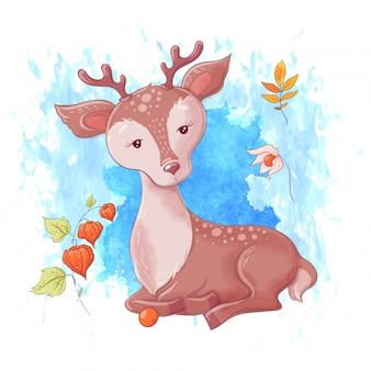 Jeleń kreskówka, jesień i liście.