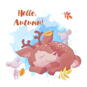 Jeleń kreskówka śpi, jesień i liście.