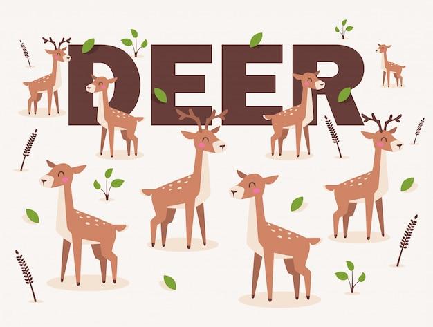 Jeleń na białym tle w stylu cartoon płaski ładny znak jelenia zauważył