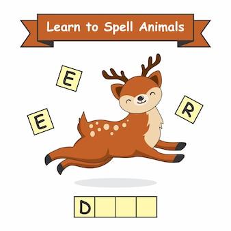 Jeleń naucz się literować zwierzęta