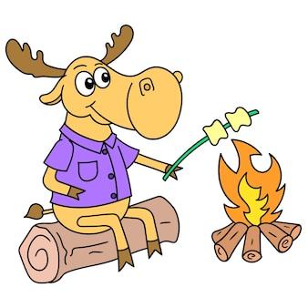 Jeleń piekł pianki na ciepłym ognisku, rysuj doodle kawaii. ilustracja