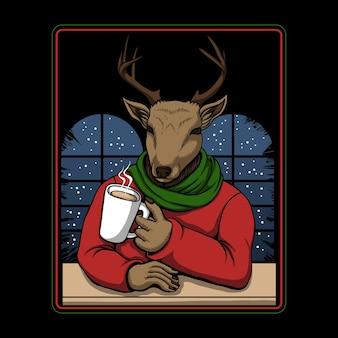 Jeleń pije kawę wesołych świąt ilustracji wektorowych