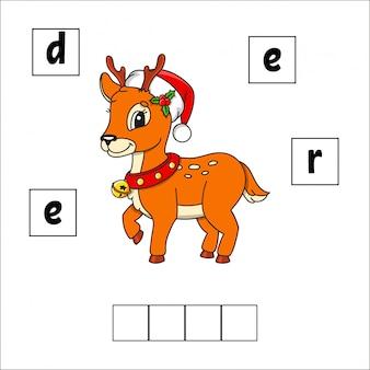 Jeleń puzzle ze słowami. arkusz rozwijający edukację. gra edukacyjna dla dzieci.
