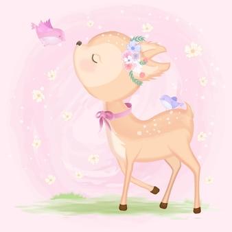 Jeleń słodkie dziecko z ptakiem ręcznie rysowane na różowo
