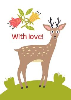 Jeleń stojący zielony trawnik wektor kartkę z życzeniami