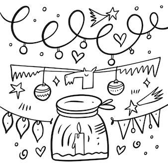 Jeleń, świeca i wiele innych elementów bożonarodzeniowych. doodle styl. kreskówka rysować ręcznie kolorowanie. na białym tle