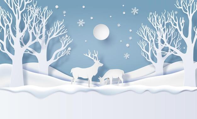 Jeleń w lesie w stylu sztuki papieru snow.vector.