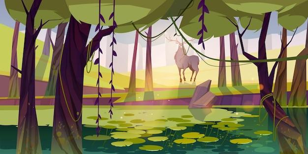 Jeleń w lesie z bagiennym i leśnym krajobrazem
