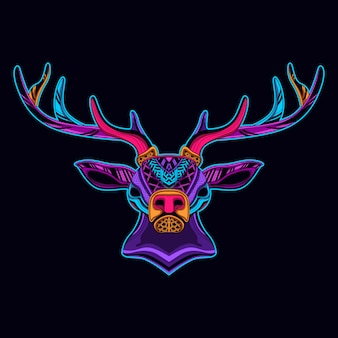 Jeleń w neonowym kolorze