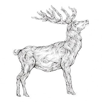 Jeleń w ozdoba rysunek odręczny z widokiem z boku