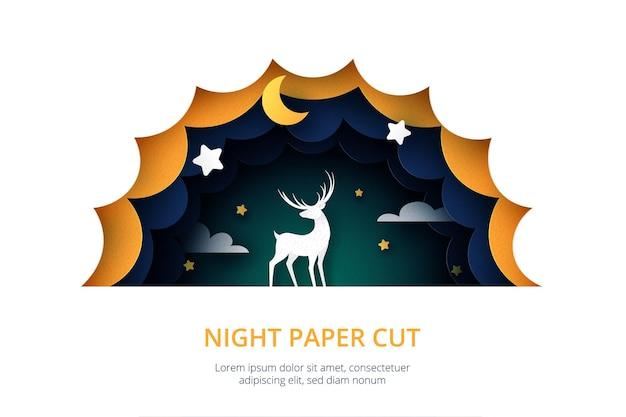 Jeleń w stylu cięcia papieru nocnego nieba ciemnoniebieski pochmurny krajobraz z gwiazdami i półksiężycem. .