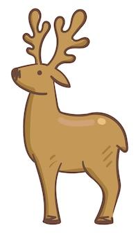 Jeleń z dużymi rogami, ikona na białym tle ssak zwierzę. dzika przyroda, dzicz i leśna istota. jeleń lub łoś, łoś skandynawski. zimożerne jeleniowate. wektor w stylu płaskiej