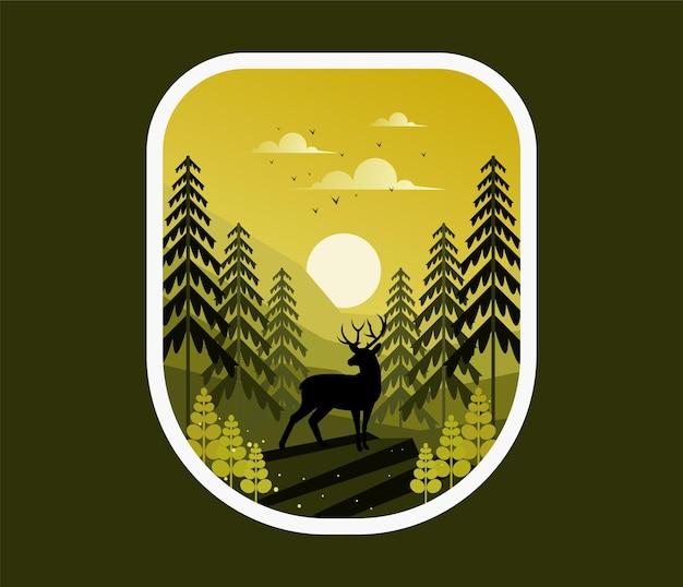 Jeleń z naturą w lesie