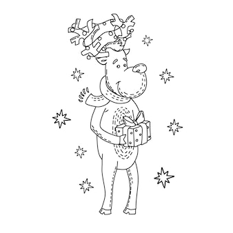 Jeleń z pudełkiem na prezenty kolorowanka boże narodzenie i nowy rok vector