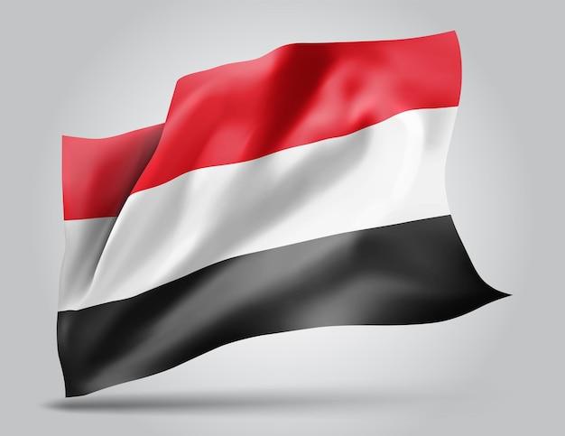 Jemen, wektor flaga z falami i zakrętami macha na wietrze na białym tle.