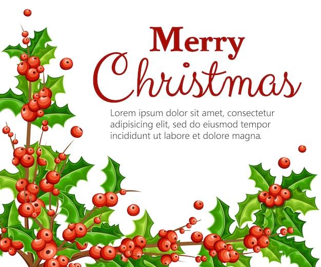Jemioła dekoracyjna. gałęzie z czerwonych jagód zielonych liści. świąteczna ozdoba. ilustracja na białym tle. miejsce na twój tekst.