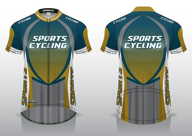 Jersey kolarstwo, widok z przodu iz tyłu, sportowy design i gotowy do nadruku na tkaninie i texlicie
