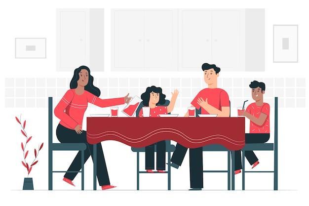 Jeść razem ilustracja koncepcja