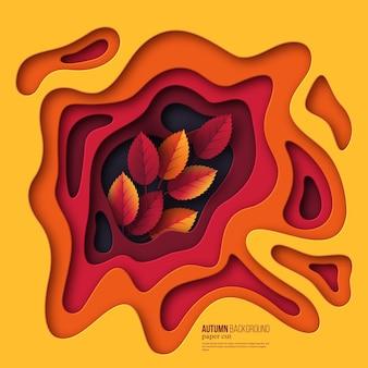 Jesień 3d tło cięcia papieru. abstrakcyjne kształty z liśćmi w kolorach żółtym, pomarańczowym, fioletowym. projekt dekoracji, prezentacji biznesowych, plakatów, ulotek, wydruków. ilustracja wektorowa.