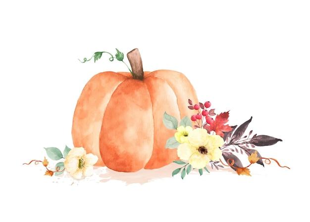 Jesień akwarela ilustracja z dyni i kwiatów liści na białym tle. akwarela ręcznie malowana idealna do projektowania ozdobnych kartek okolicznościowych, czy plakatów na jesienny festiwal.