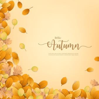 Jesień backgorund z suchym liściem spadającym na tle