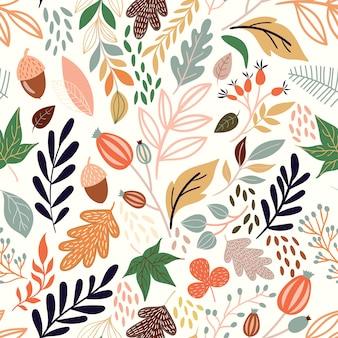 Jesień bezszwowy wzór z dekoracyjnymi sezonowymi elementami