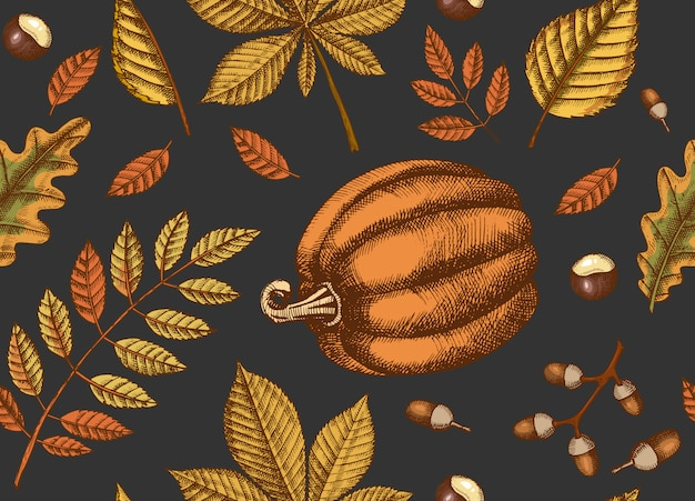 Jesień bezszwowy wzór z ręka rysującymi liśćmi i baniami. liście klonu, brzozy, kasztanowca, żołędzi, jesionu, dębu. naszkicować. na tapetę