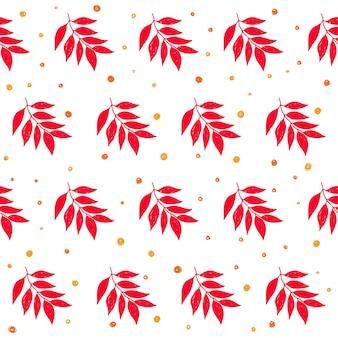 Jesień czas bezszwowe tło wzór. ręcznie robione doodle czerwone jesienne liście na białym okładce karty projektowej, zaproszenia, albumu, notatnika, tkaniny tekstylnej itp