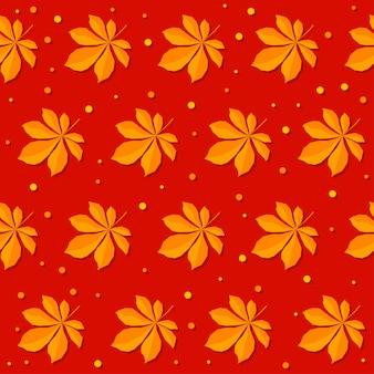 Jesień czas bezszwowe tło wzór. ręcznie robione pomarańczowe jesienne liście na czerwonej okładce karty projektowej, zaproszenia, albumu, skrapbooka, tkaniny tekstylnej itp