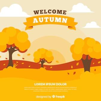 Jesień dekoracyjny tło płaski styl