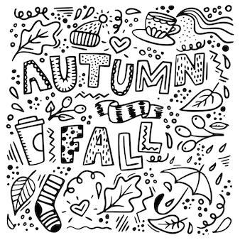 Jesień doodle tło