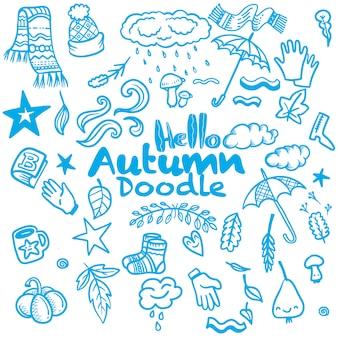 Jesień doodle zestaw, wektor na białym tle ręcznie rysowane elementy
