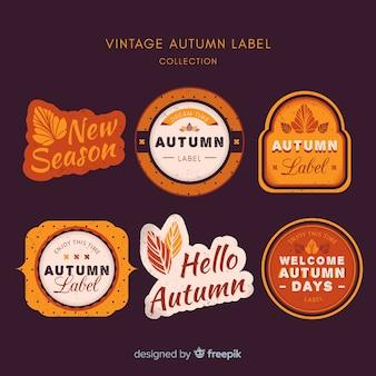 Jesień etykiety kolekcji stylu vintage