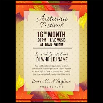Jesień festiwal plakat szablon z kolorowych liści