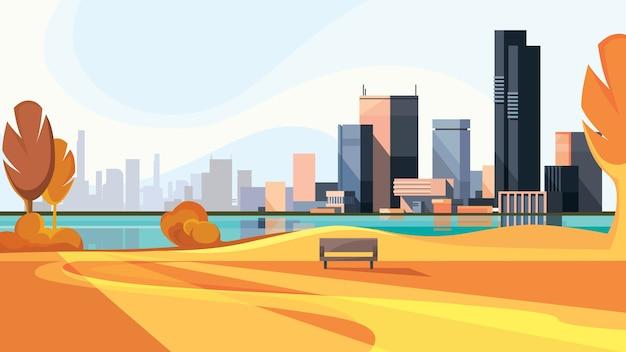 Jesień gród ze złotymi drzewami