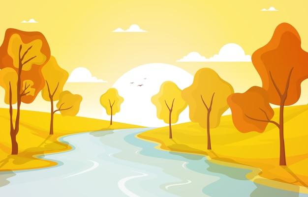 Jesień, jesień, drzewo, złoty, żółty, rzeka, panoramiczny, krajobraz