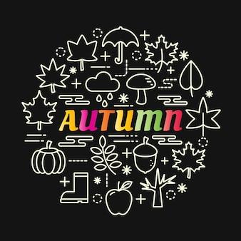 Jesień kolorowy gradient z zestaw ikon linii