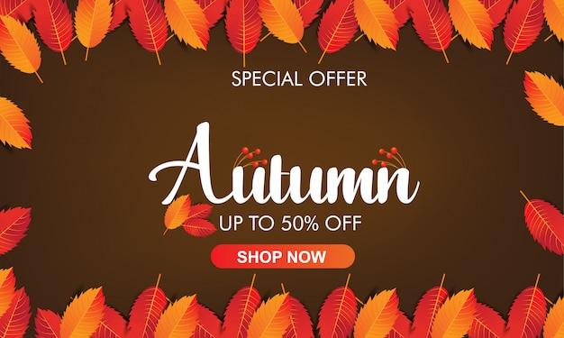 Jesień kolorowych liści ramowy tło