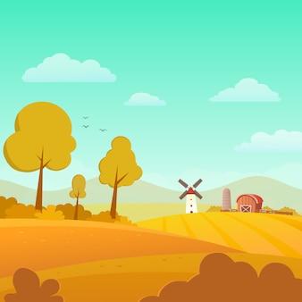 Jesień krajobraz z gospodarstwem rolnym na słonecznym dniu