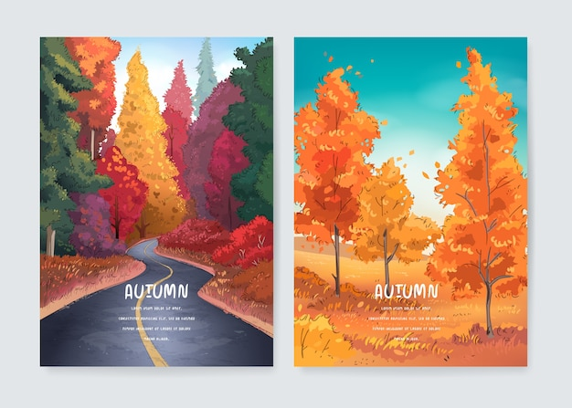 Jesień krajobraz z lasem i drogą