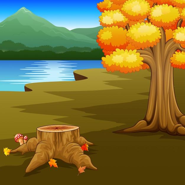 Jesień krajobraz z rzekami i górą