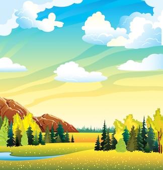 Jesień krajobraz z żółtą łąką