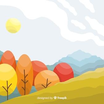Jesień krajobrazu tła płaski projekt