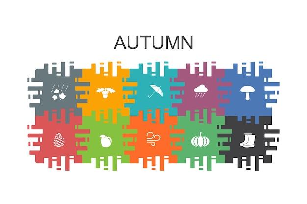 Jesień kreskówka szablon z płaskimi elementami. zawiera takie ikony jak orzech dębowy, deszcz, wiatr, dynia