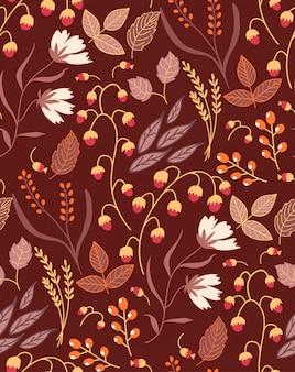 Jesień kwiatowy wzór bez szwu jesienne liście jesienią. kolekcja symbol przyrody.