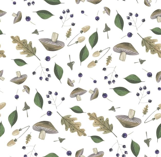 Jesień kwiatowy wzór ziołowy ręcznie rysowane w akwareli