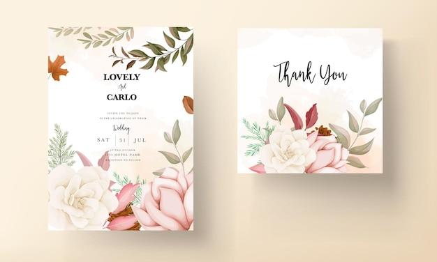 Jesień kwiatowy zaproszenie na ślub z kwiatem róży i sosny