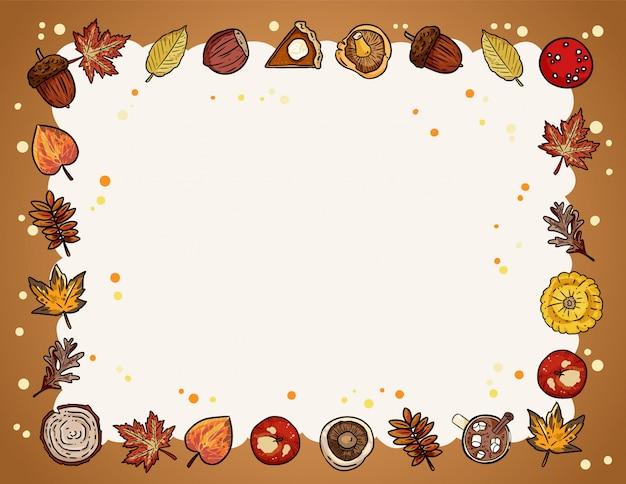 Jesień ładny przytulny rama tło z elementami upadku.